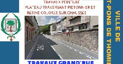 Travaux peinture chaussée Grand'Rue - Plateau pietonnier-Résine…